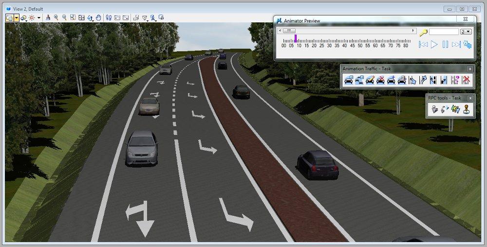 Wizualizacja drogi w MicroStation.